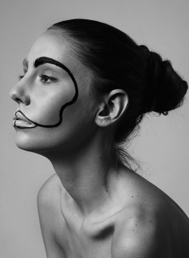 black and white photo of a beauty makeup on an awesome model