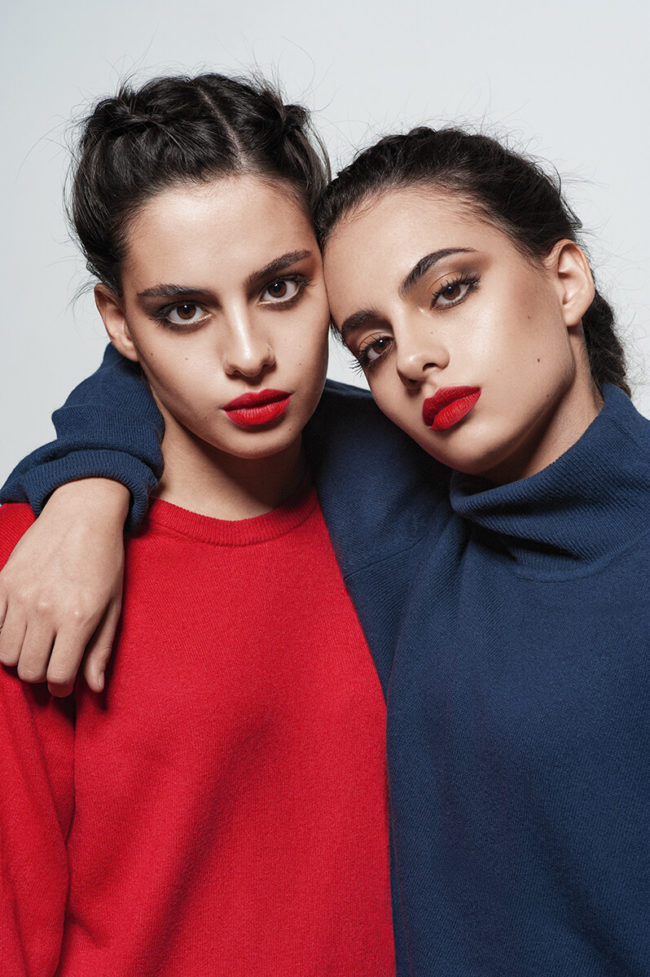 awesome twin sister wearing blue and red shirts